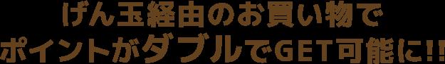 げん玉経由のお買い物でポイントがダブルでGET可能に!!